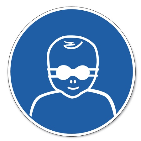 commanded: Commanded sign safety sign pictogram occupational safety sign Eye shielding for patients carrying Illustration
