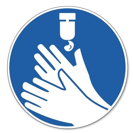 jabon liquido: Al mando de seguridad signo signo signo pictograma seguridad en el trabajo Desinfecte sus manos no se olvide Vectores