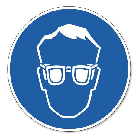 Comandato segnale di sicurezza pittogramma segno sicurezza sul lavoro indossare occhiali di protezione