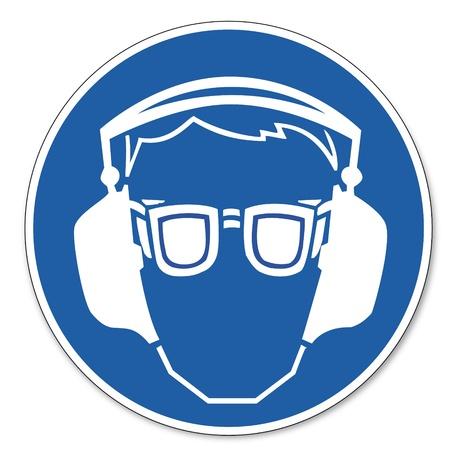 hangos: Vezérelt jel biztonsági jel piktogram munkahelyi biztonsági jel védőszemüveget és fülvédőt Illusztráció