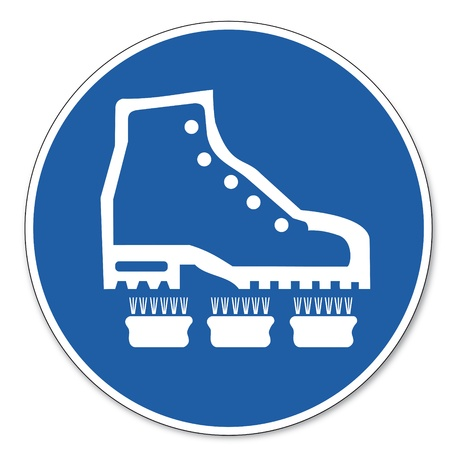 calzado de seguridad: Al mando de seguridad sign sign signo pictograma seguridad en el trabajo Por favor, zapatos limpios Vectores