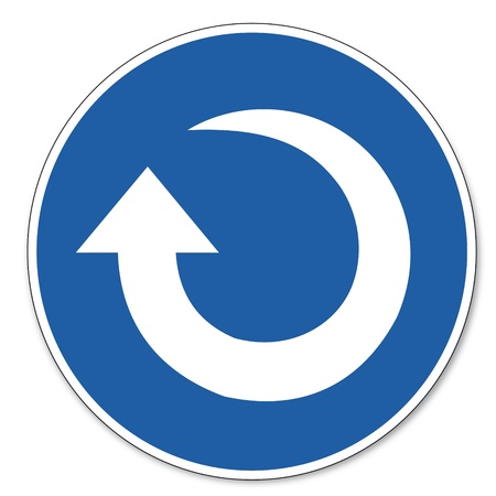 commanded: Commanded sign safety sign pictogram occupational safety sign Clockwise rotation arrow
