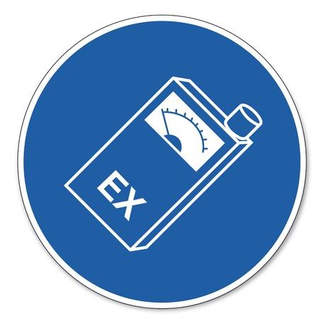 ocupacional: Ordenado se�al de seguridad signo pictograma seguridad en el trabajo signo explosi�n Warner llevar a