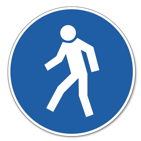 commanded: Commanded sign safety sign pictogram occupational safety sign for pedestrians