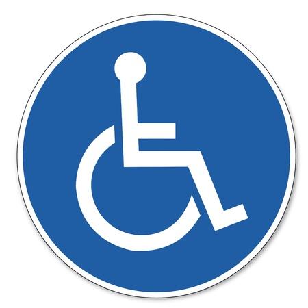 handicap: Comandato segnale di sicurezza sul lavoro pittogramma segnale di sicurezza per gli utenti di sedie a rotelle