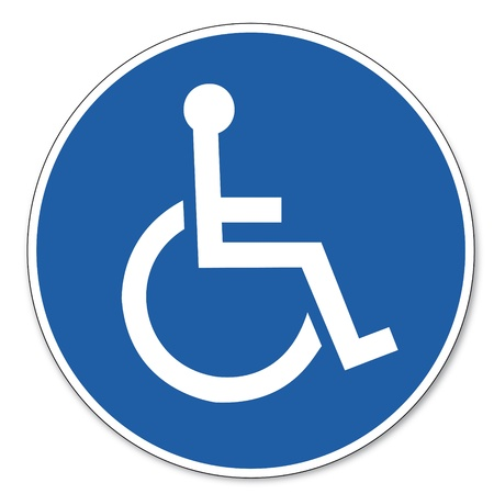 accessibility: Commanded sign safety sign pictogram occupational safety sign for Wheelchairs users Illustration