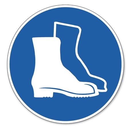 calzado de seguridad: Al mando de seguridad signo señal pictograma seguridad en el trabajo signo del pie el calzado Vectores