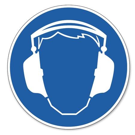 Al mando de seguridad signo señal de seguridad en el trabajo pictograma signo uso de protección auditiva Ilustración de vector