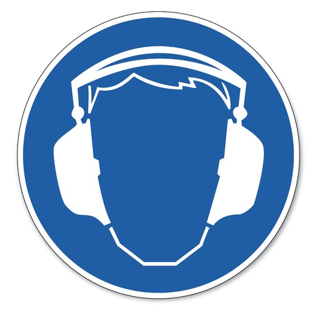 Nakazał znak bezpieczeństwa znak piktogram bezpieczeństwo pracy znak Użyj ochrona słuchu Ilustracje wektorowe