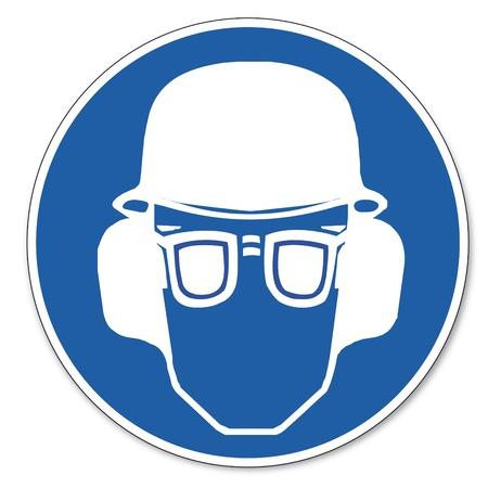 worn sign: Al mando de seguridad signo se�al pictograma seguridad en el trabajo signo del o�do, los ojos y protecci�n para la cabeza deben ser usados