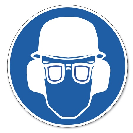 commanded: Commanded sign safety sign pictogram occupational safety sign   Ear, eye and head protection must be worn