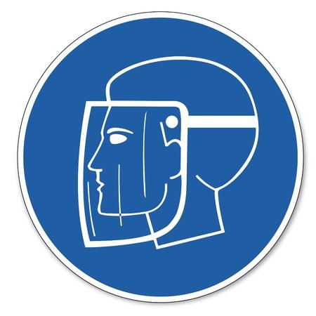 Beherrschte Zeichen Sicherheitszeichen Piktogramm Arbeitssicherheit Zeichen Verwendung Gesichtsschutz Kopf Standard-Bild - 14658976