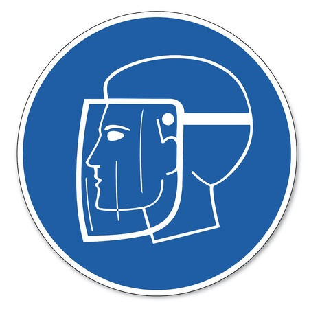 Commanded sign safety sign pictogram occupational safety sign use Face shield head Vector