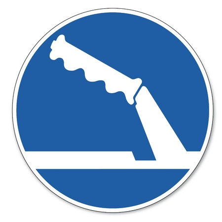 Commanded sign safety sign pictogram occupational safety sign Parking brake when parking use Vector