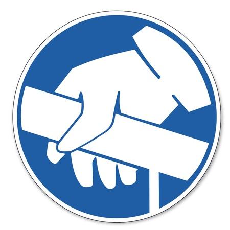 Beherrschte Zeichen Sicherheitszeichen Piktogramm Arbeitssicherheit Zeichen Handlauf Einsatz