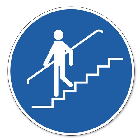 handrail: Commanded sign safety sign pictogram occupational safety sign Handrail use Illustration