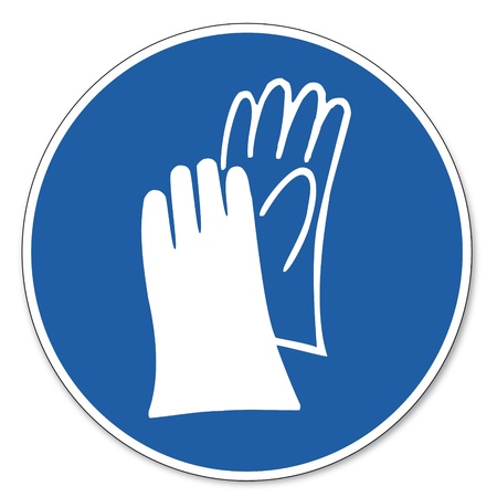 safety gloves: Commanded sign safety sign pictogram occupational safety sign Hand protection must be worn