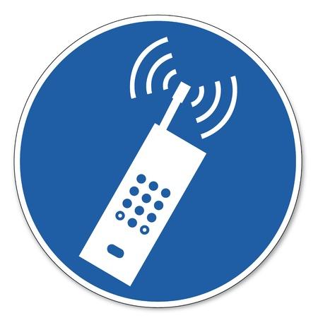 prevencion de accidentes: Al mando de seguridad signo se�al de seguridad en el trabajo pictograma signo tel�fono celular tel�fono inteligente permite utilizar Vectores