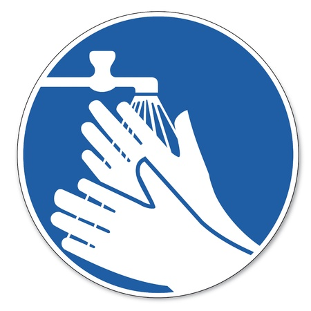 wash: Commanded sign safety sign pictogram occupational safety sign wash hands Illustration