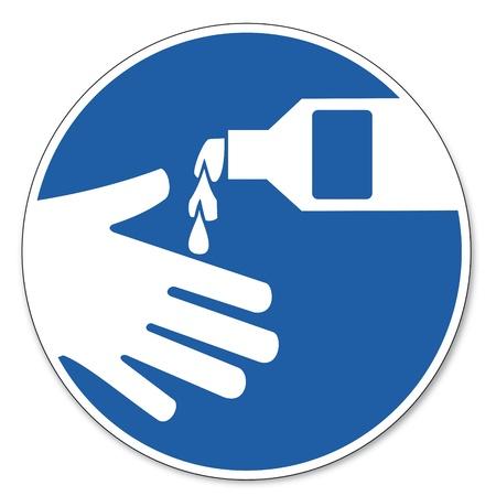 jabon liquido: Al mando signo se�al de seguridad seguridad en el trabajo pictograma signo Use crema protectora de la piel