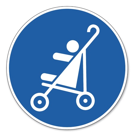 commanded: Commanded sign safety sign pictogram occupational safety sign Strollers allowed children baby