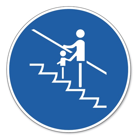 commanded: Commanded sign safety sign pictogram occupational safety sign Small children hold