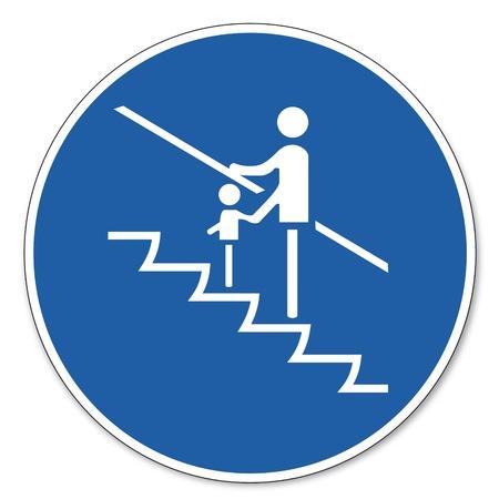 prevencion de accidentes: Mandado se�ales de seguridad de signo pictograma de trabajo los ni�os peque�os tienen se�ales de seguridad Vectores