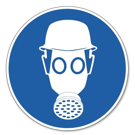 ocupacional: Al mando de seguridad signo se�al pictograma seguridad en el trabajo muestra el uso del respirador Vectores