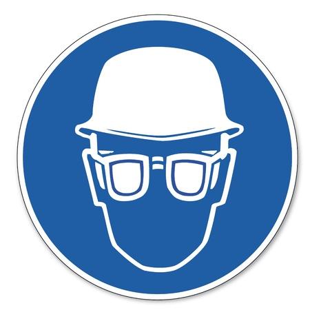 protective helmets: Comandato segnale di sicurezza sul lavoro pittogramma segno Responsabile sicurezza e protezione per gli occhi Vettoriali