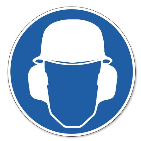 ocupacional: Al mando de seguridad signo se�al pictograma seguridad en el trabajo muestra el uso de cabeza y protectores para los o�dos