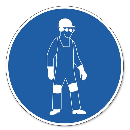 Commanded sign safety sign pictogram occupational safety sign Personal protective equipment use Vector