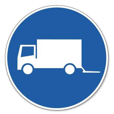 rámpa: Vezérelt jel Biztonsági jel piktogram munkahelyi biztonság jelzés Loading zóna teherautó Illusztráció