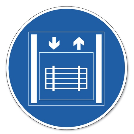 commanded: Commanded sign safety sign pictogram occupational safety sign Freight elevator