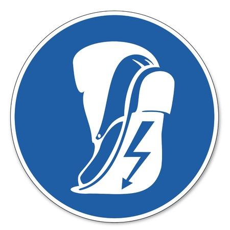 prevencion de accidentes: Mandado se�ales de seguridad de signo pictograma de seguridad laboral calzado conductor signo soportar