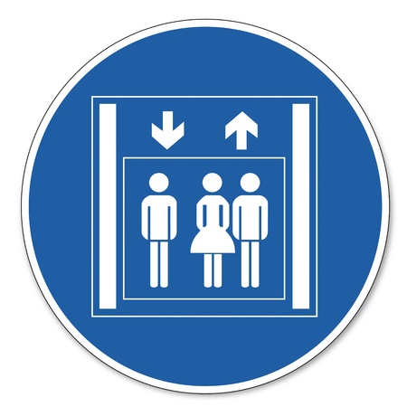 people in elevator: Commanded sign safety sign pictogram occupational safety sign people Elevator