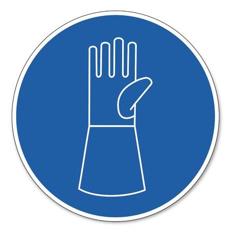 ocupacional: Al mando de seguridad signo se�al pictograma seguridad en el trabajo muestra el desgaste de mu�eca uso de protecci�n Vectores