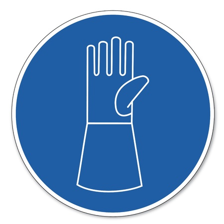 commandedhealth: Commanded sign safety sign pictogram occupational safety sign Use wear wrist protection Illustration
