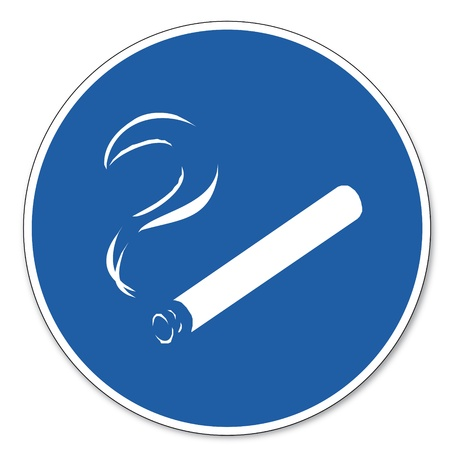 commanded: Commanded sign safety sign pictogram occupational safety sign Smoking permitted allowed
