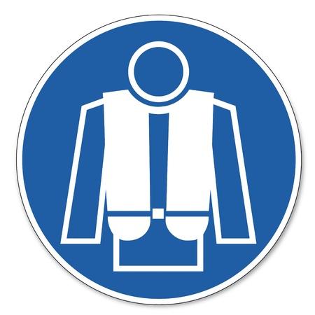 Beherrschte Zeichen Sicherheitszeichen Piktogramm Arbeitssicherheit Zeichen Rettungsweste Einsatz