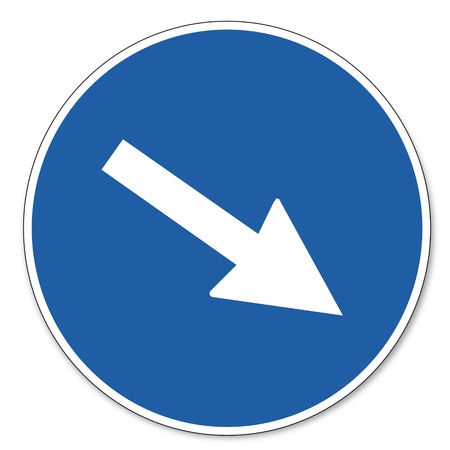 commanded: Commanded sign safety sign pictogram occupational safety sign indication of direction arrow