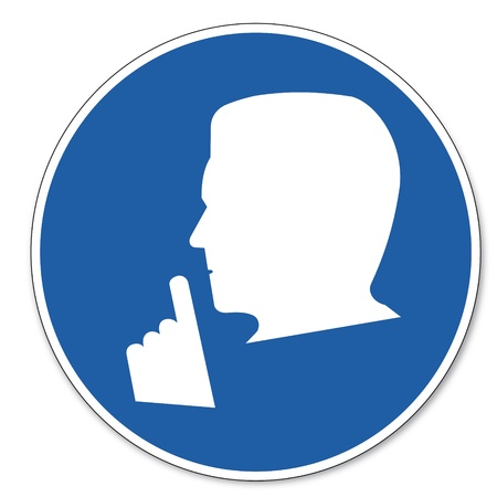 stil zijn: Gebood teken veiligheid teken pictogram arbeidsveiligheid teken stille tevreden