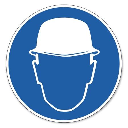 devoir: Command�e s�curit� signe signe pictogramme s�curit� signe Casque travailleur de la construction utilisation