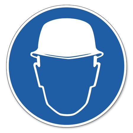 commanded: Commanded sign safety sign pictogram occupational safety sign Helmet use construction worker