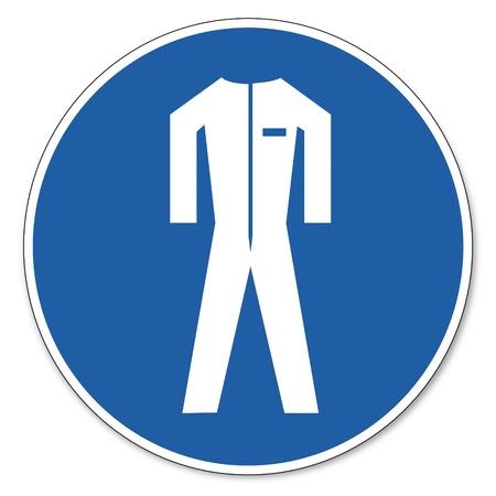 ocupacional: Al mando de seguridad signo signo signo pictograma seguridad en el trabajo Usar ropa protectora