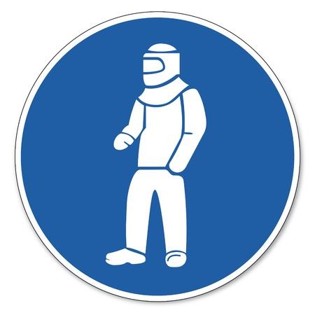prevencion de accidentes: Al mando de seguridad signo signo signo pictograma seguridad en el trabajo Usar ropa de protecci�n