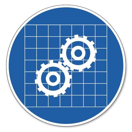 prevencion de accidentes: Al mando de seguridad signo se�al pictograma seguridad en el trabajo signo Escudo uso de engranajes