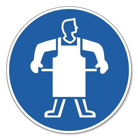delantal: Al mando de seguridad signo signo signo pictograma seguridad en el trabajo Use un delantal de protección Vectores