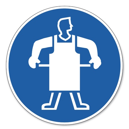 Commanded sign safety sign pictogram occupational safety sign Use protective apron