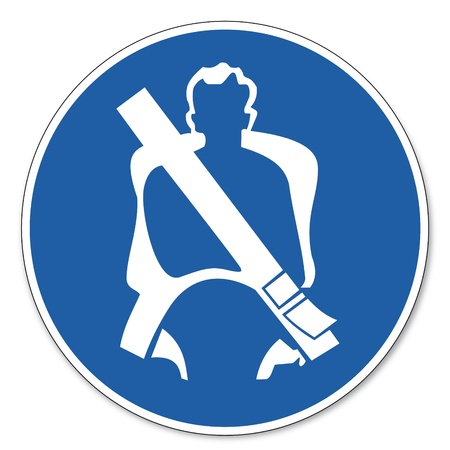 belt buckle: Commanded sign safety sign pictogram occupational safety sign seat belt apply Illustration