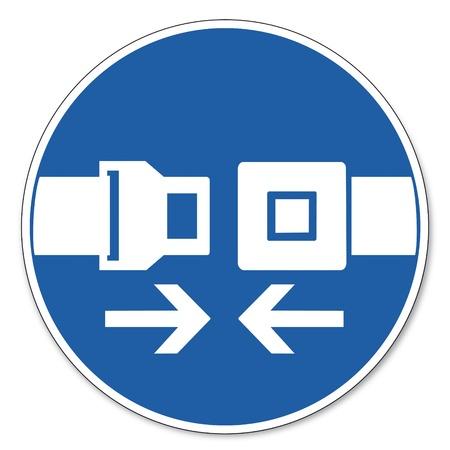 cinturon seguridad: Al mando de seguridad signo se�al pictograma seguridad en el trabajo muestra el uso del cintur�n de seguridad